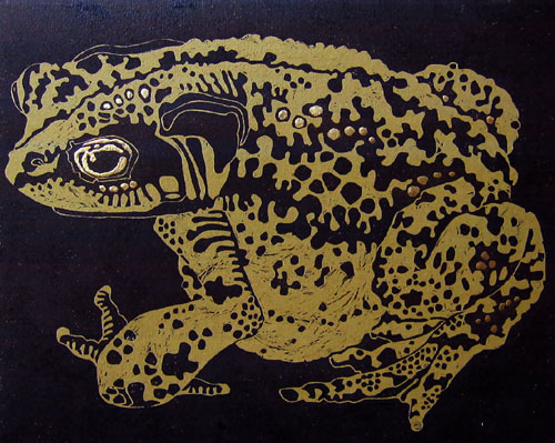 Olivia Clifton-Bligh. 'MIDNIGHT TOAD' Iluminated linocut 66x59cm
